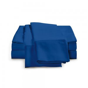 Single-Ply Smoke Blue Bamboo Sheet Set, 300 Thread Count