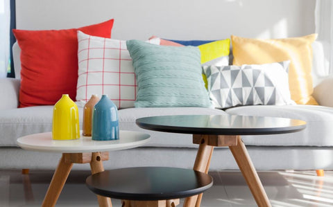 colorful pillows on a couch