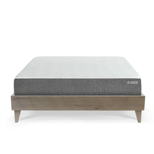 "eLuxury Mattress (10"" Gel Memory Foam or 12"" Latex Hybrid) & Reclaimed Barn Wood Platform Bed Frame"