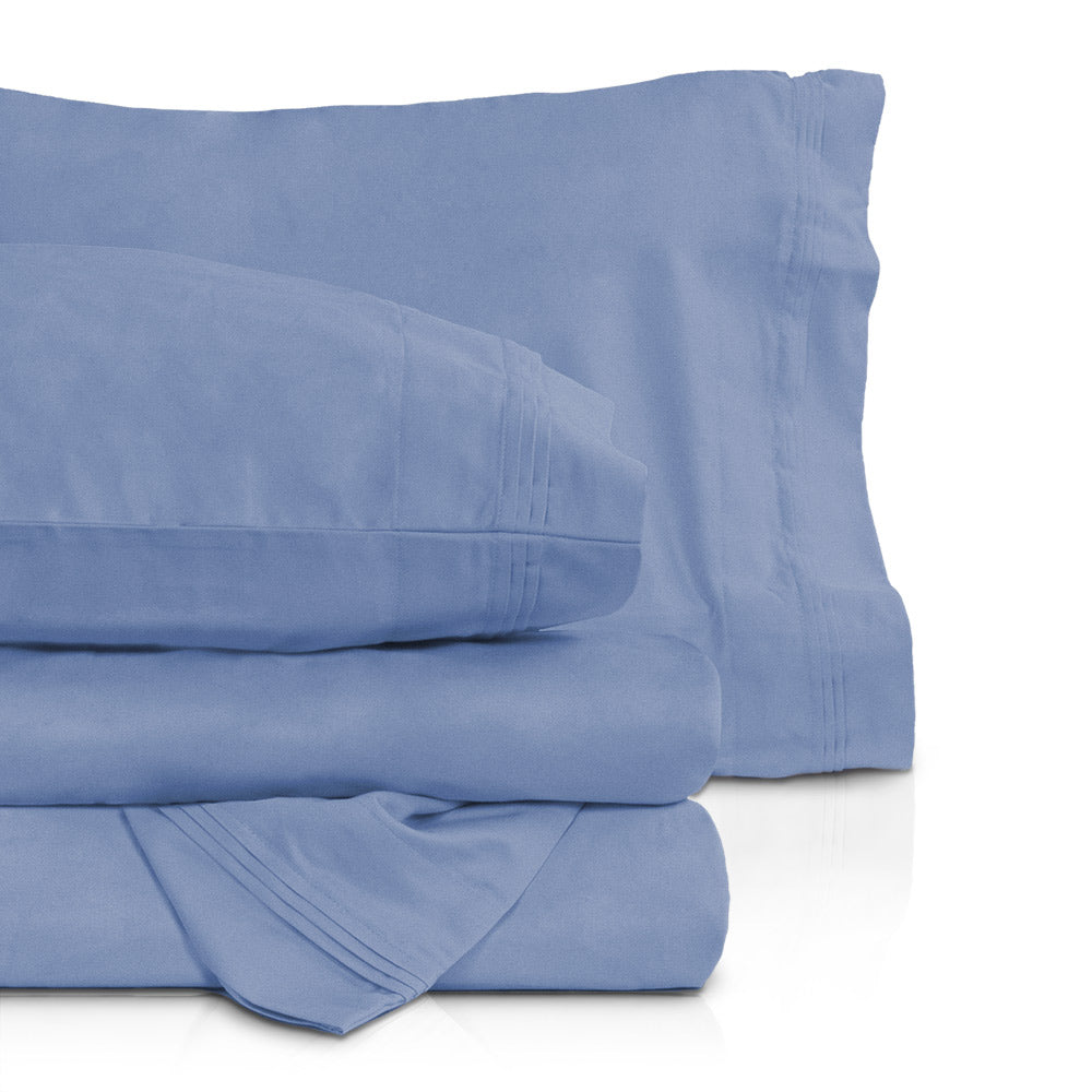 NAVY BLUE  SOLID BED SHEET SET CAL KING SIZE 1000 TC 100/% EGYPTIAN COTTON