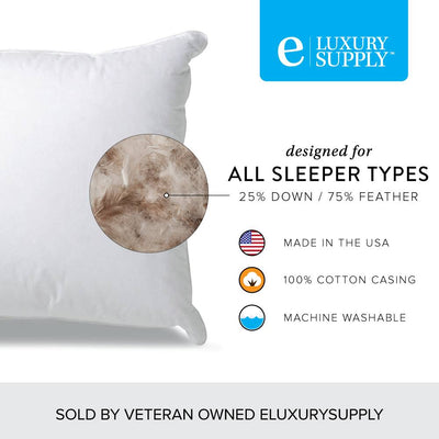25/75 Down and Feather Blend Pillow for All Sleepers