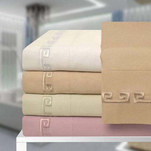600 Thread Count - Greek Key Egyptian Cotton Sheet Set