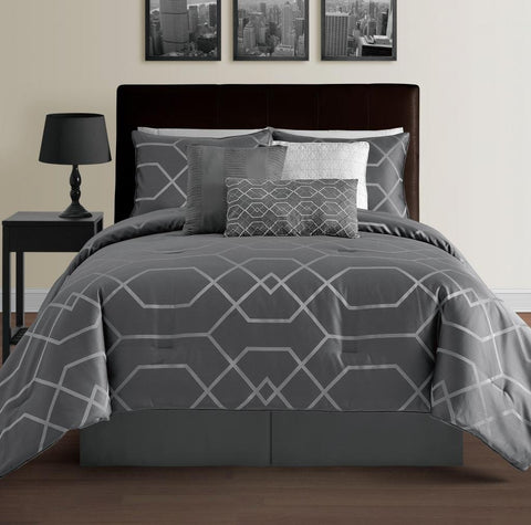 Hampton 7-Piece Modern Geometric Lightweight Comforter Set