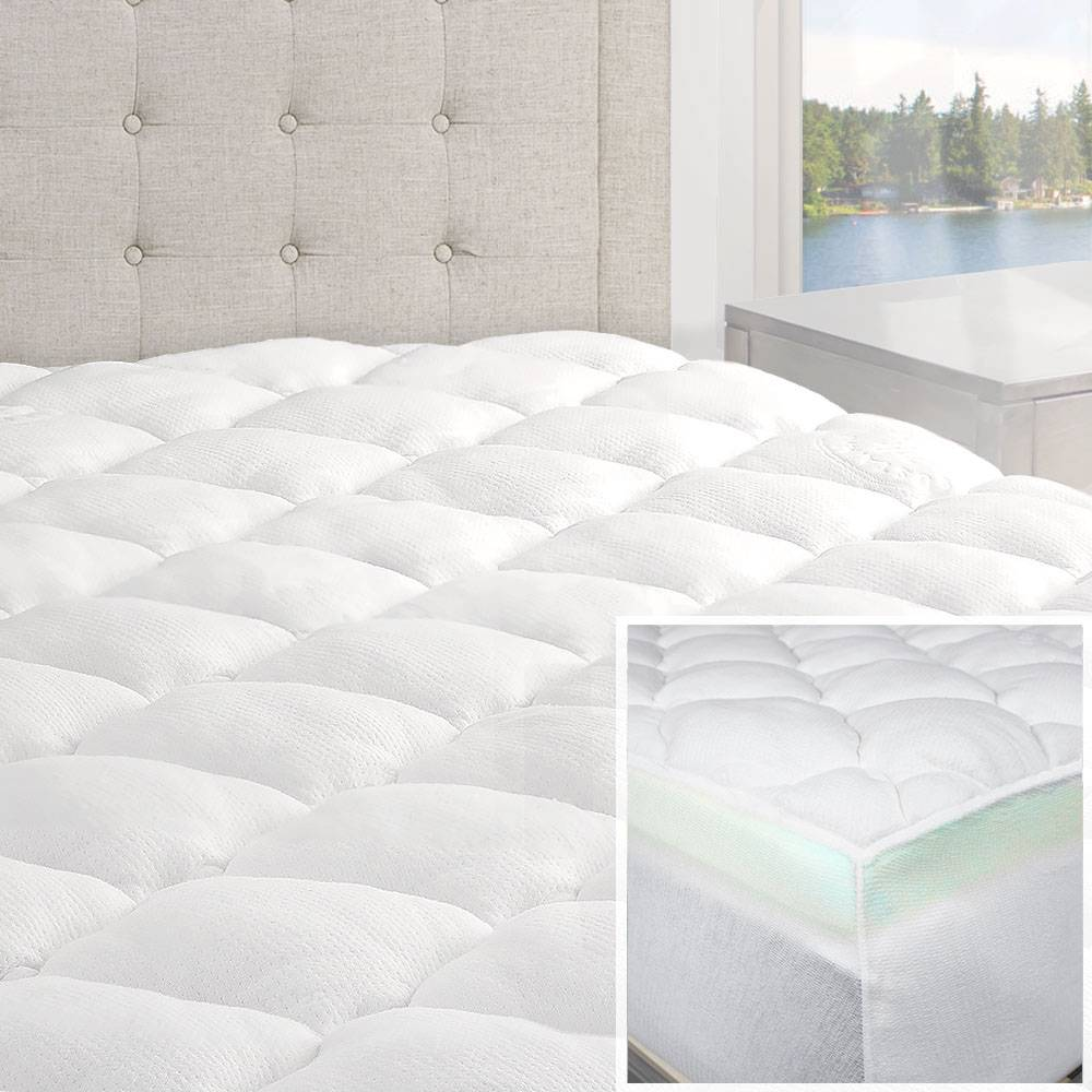 Bamboo Matress Topper Cooling Pillow Top Mattress Pad Breathable Extra Thick New