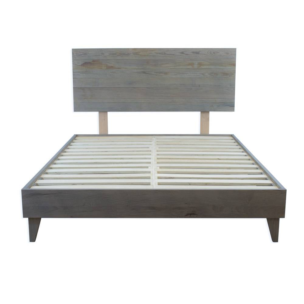 Mid Century Bed Frame - Reclaimed Ash Barn Wood Platform - Headboard Included