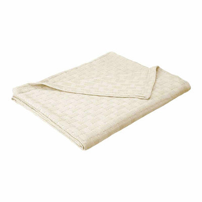 100% Cotton Basket Weave Blanket - Ivory