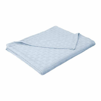100% Cotton Basket Weave Blanket - Light Blue