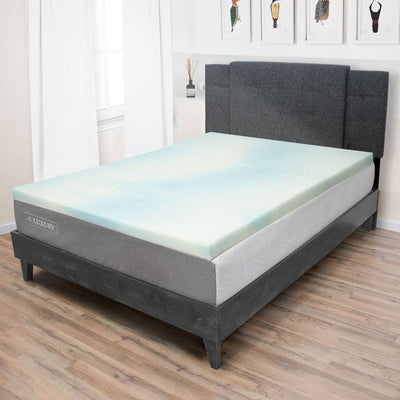"Temperature Regulating Memory Foam Mattress Topper - 1.5"" and 3"" Thickness"