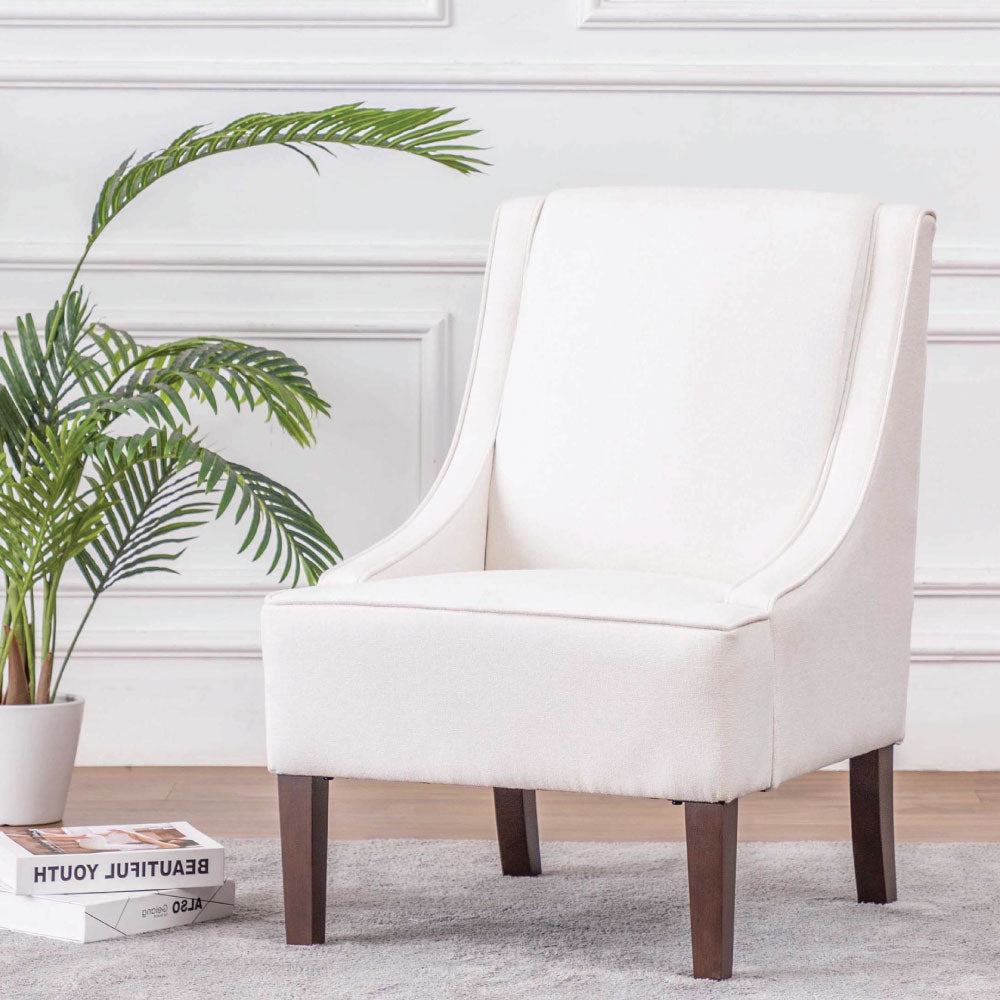 Carmina Swoop Grey Accent Chair: Modern Swoop Accent Chair