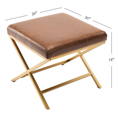 Metal X-Base Square Ottoman - Footrest Stool