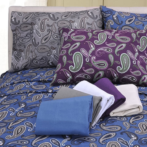 100% Cotton Flannel 2-Piece Paisley Pillowcase Set