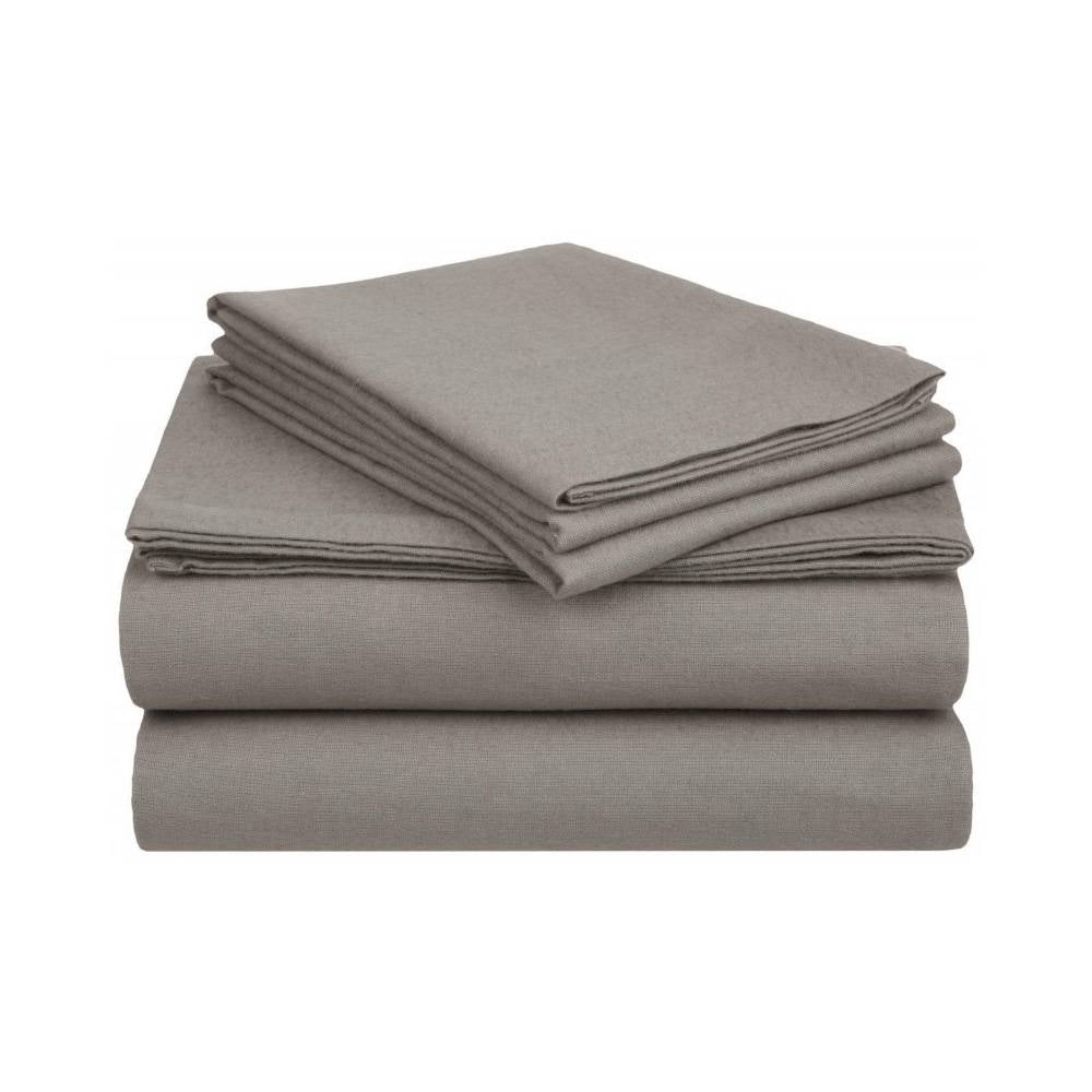 100% Cotton Solid Color Flannel Sheet Set