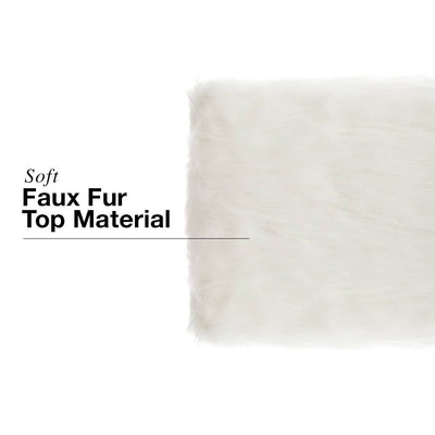 White Faux Fur Ottomans