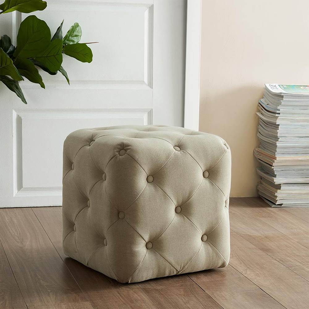 All Over Button Tufted Square Ottoman