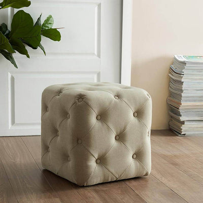 Square Ottoman w/ Allover Button Tufting