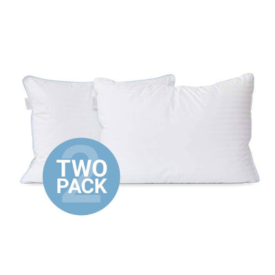 Two (2) Jacquard Stripe Down Alternative Pillows w/ 100% Cotton Casing Cover