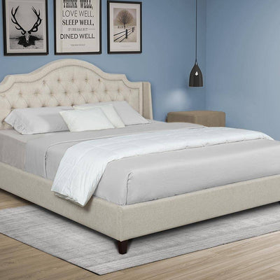 Upholstered Tufted Bed Frame w/Nailheads