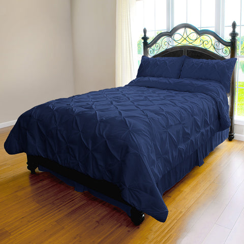 3 Piece Microfiber Pinch Pleat Duvet Cover