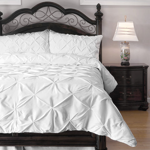 4 Piece Pinch Pleat Comforter Set - Ideal for Summer