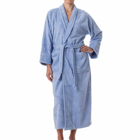 Terry Cloth Robe - Light Blue - Female Model