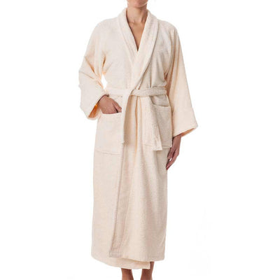 Terry Cloth Robe - Ivory - Female Model