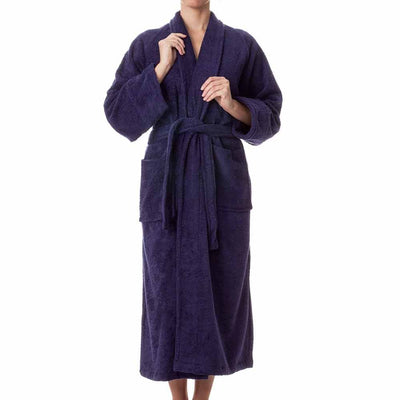 Terry Cloth Robe - Navy Blue - Female Model