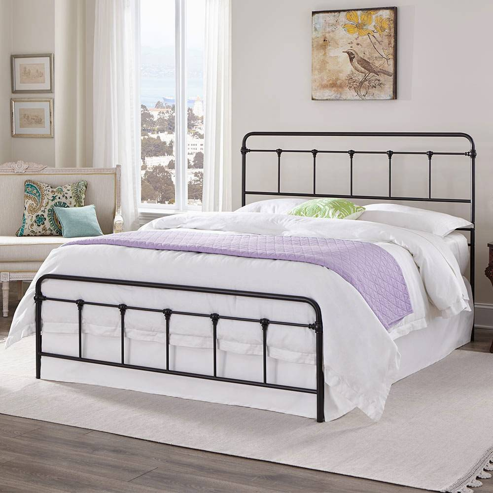 Metal Bed Frame - Vintage Style Black Finish Folding Bed Frame