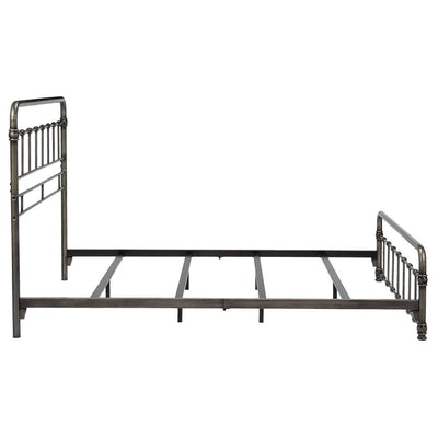 Metal Bed Frame - Vintage Style Weathered Nickel Finish Folding Bedframe