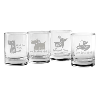 What The Woof Dog Lover Sayings Rocks Glasses (Mixed Set Of Four)