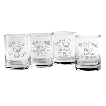 Pit Bull Sayings Rocks Glasses (Mixed Set Of Four)