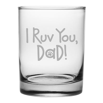 I Ruv You, Dad Rocks Glasses (Set Of Four)