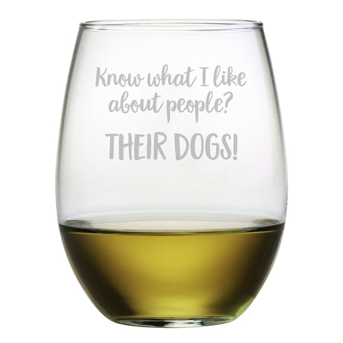 Their Dogs Stemless Wine Glasses (Set Of Four)