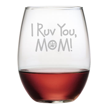 I Ruv You, Mom Stemless Wine Glasses (Set Of Four)