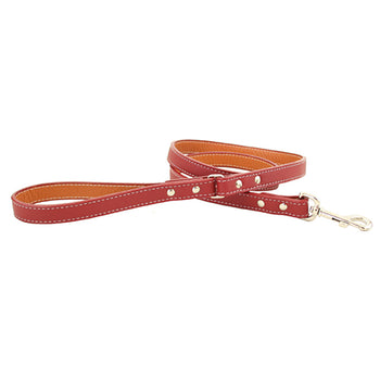 Rita Bean Italian Leather Dog Leash - Red