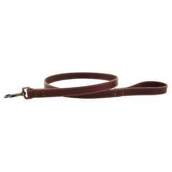 American Classic Bridle Leather Dog Leash With Brass Hardware - Burgundy