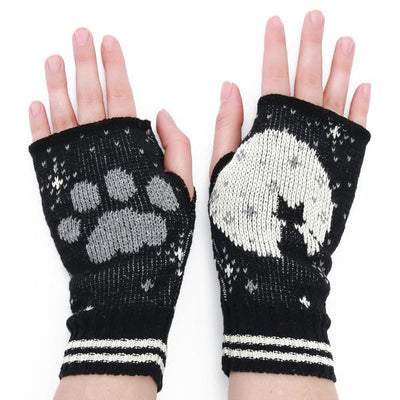Cat in the Moon Handwarmers - Black