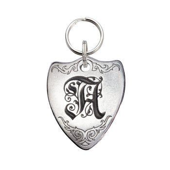 Rita Bean Engraved Dog Tag - Sterling Silver Crest Initial