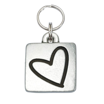 Rita Bean Engraved Dog Tag - Square Heart (Lead-Free Pewter)