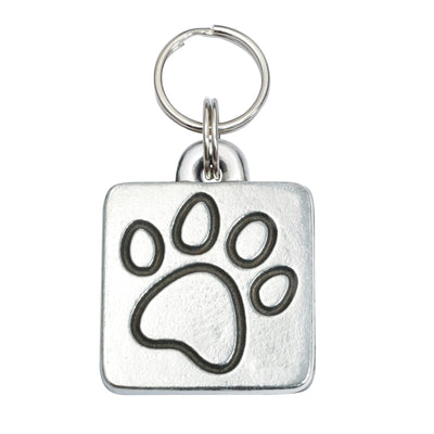 Rita Bean Engraved Dog Tag - Square Paw Print (Lead-Free Pewter)