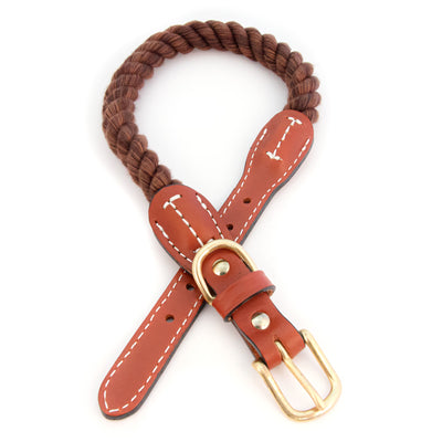 Braided Cotton And Leather Rope Dog Collar - Brown