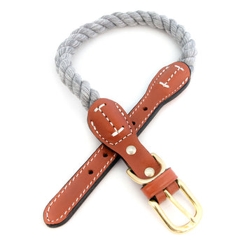 Braided Cotton And Leather Rope Dog Collar - Gray