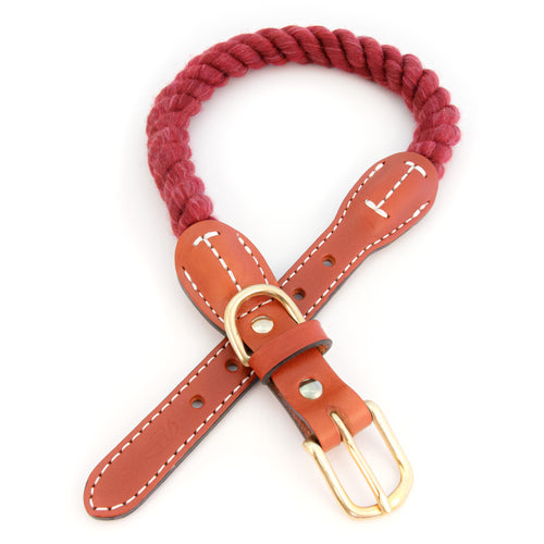 Braided Cotton And Leather Rope Dog Collar - Maroon