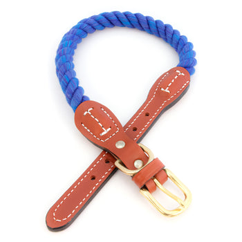 Braided Cotton And Leather Rope Dog Collar - Nautical Blue