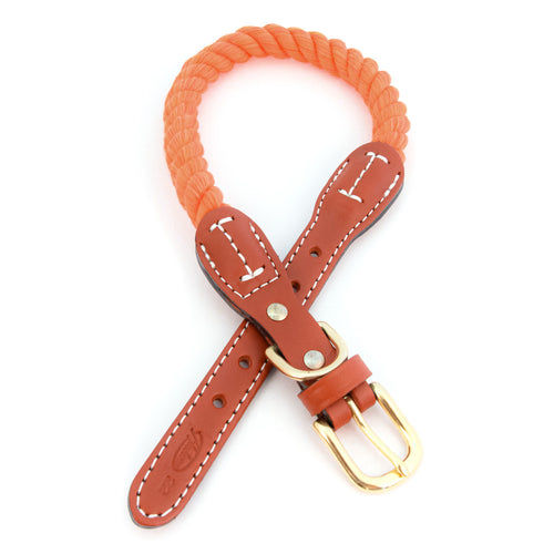 Braided Cotton And Leather Rope Dog Collar - Orange
