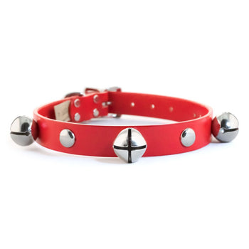 Rita Bean Jingle Bells & Studs Red Leather Christmas Dog Collar