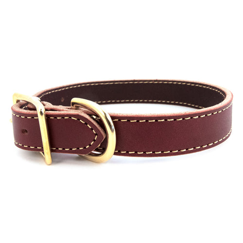 American Classic Bridle Leather Dog Collar With Brass Hardware - Burgundy