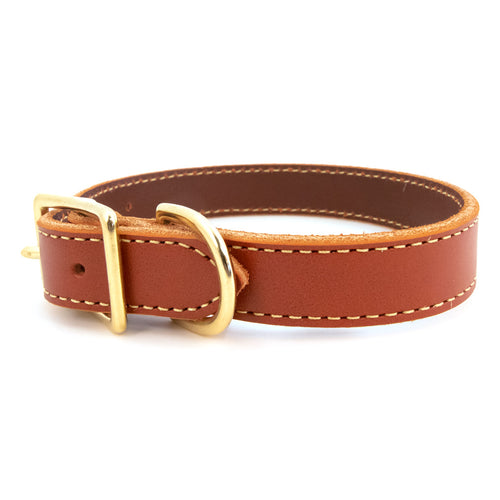 American Classic Bridle Leather Dog Collar With Brass Hardware - Tan