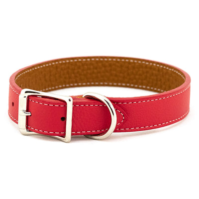 Rita Bean Italian Leather Dog Collar - Bright Red
