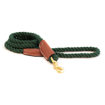 Braided Cotton and Leather Rope Dog Leash - Green