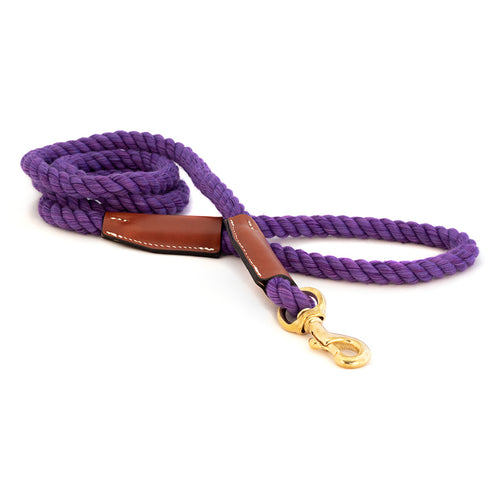 Braided Cotton and Leather Rope Dog Leash - Purple